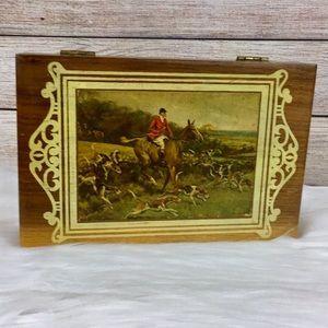 Fox Hunt Wooden Cigar Box
